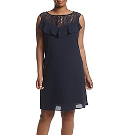 Gabby Skye® Plus Size Crochet Trapeze Dress