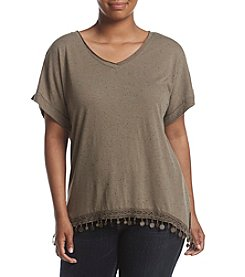Democracy Plus Size V-Neck Raw Edge Top