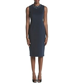 S.L. Fashions Scuba Midi Bead Neck Dress