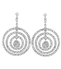 Jessica Simpson Silvertone Pavé Orbital Drop Earrings
