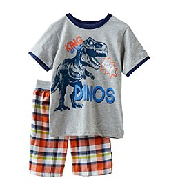 Nannette® Boys' 2T-7 2 Piece King Of The Dinos Shorts Set
