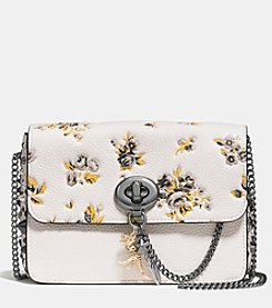 COACH BOWERY LEATHER CROSSBODY PRAIRIE PRINT WITH REBEL CHARM