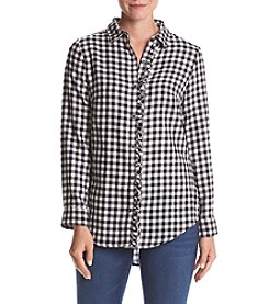 Ruff Hewn Boyfriend Ruffled Checkered Top