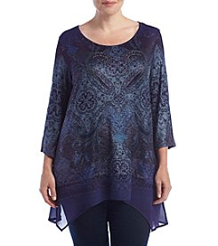 Oneworld® Plus Size Sparkly Top