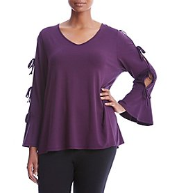 Cupio Plus Size Tie Sleeve Top