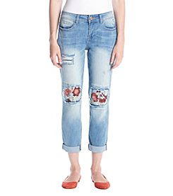 Hippie Laundry Embroidered Knee Patch Ankle Jeans
