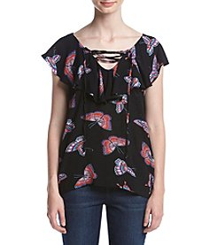 Hippie Laundry Butterfly Print Off Shoulder Popover Top