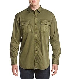 Ruff Hewn Long Sleeve Solid Military Shirt