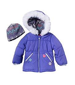 London Fog® Girls' 2T-4T Clash Patch Puffer Jacket