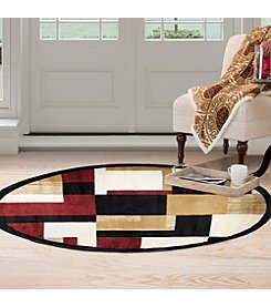 Lavish Home 5' Contemporary Block Round Area Rug