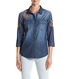 Ruff Hewn Denim Embroidered Boyfriend Shirt