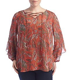 AGB® Plus Size Paisley Print Lace Up Flutter Top