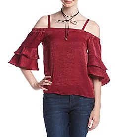 A. Byer Tier Sleeve Off The Shoulder Top