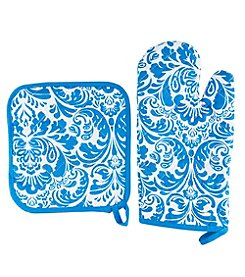 Lavish Home Quilted Flame and Heat Resistant Oven Mitt And Pot Holder Set