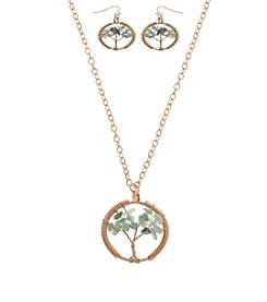 L&J Accessories Genuine Stone Tree Of Life Pendant Set