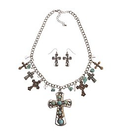 L&J Accessories Turquoise Cross Necklace And Matching Earring Set