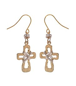 L&J Accessories Cross Drop Earrings