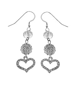 L&J Accessories Silvertone Heart Drop Earrings