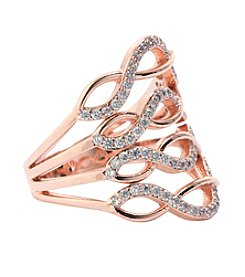Athra Abstract Cubic Zirconia And Solid Twist Shank Ring