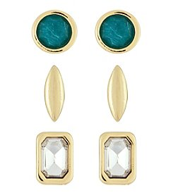 Laundry® 3 Pack Geo Stone Stud Earring Set