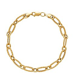 14K Yellow Gold Oval Ribbed Chain Link Bracelet