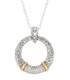 Sterling Silver And 14K Yellow Gold Circle .20 Ct. T.W. Diamond Pendant Necklace