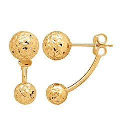 14K Yellow Gold Diamond Cut Ball Stud With Drop Dangle Ball Earrings