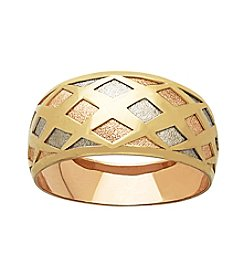 Tri Tone 14K Gold Sparkle Ring With Diamond Shape Stamp