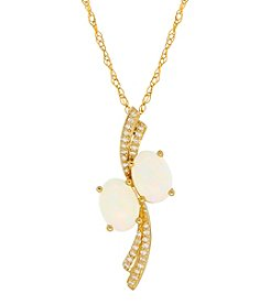 10K Yellow Gold Oval Opal Pendant With 0.06 Ct. T.W. Diamond Accent