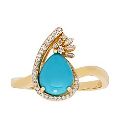 10K Yellow Gold Pear Turqouise Ring With 0.11 Ct. T.W. Diamond Accent