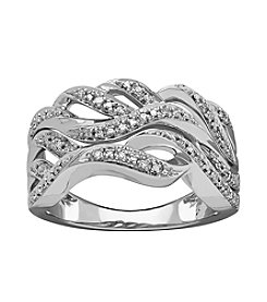 Sterling Silver Wavy .10 Ct. T.W. Diamond Ring