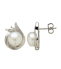Freshwater Pearl Stud Earrings With 0.024 ct. t.w. Diamond Accent