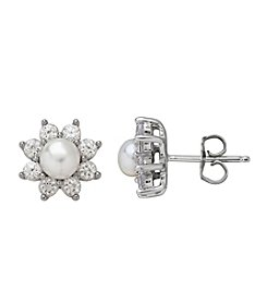 Sterling Silver Stud Flower Cultured Freshwater Pearl And Created Sapphire Earrings