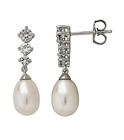 Sterling Silver Cultured Freshwater Pearl And Topaz Drop Earrings
