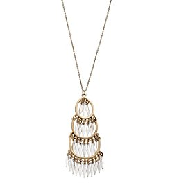 Canvas Spear Fringe Chandelier Pendant Necklace
