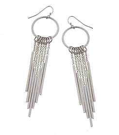 Canvas Chain Bar Fringe Hoop Earrings