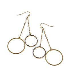 Canvas Chain Drop Pave Circle Earrings