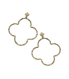 Canvas Linked Top Stud Clover Earrings