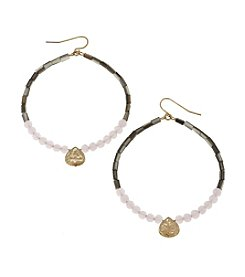 Canvas Beaded Hoop With Charm Earrings