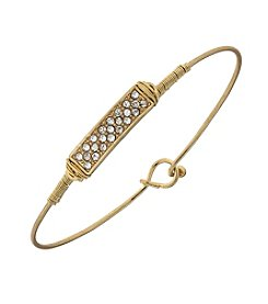 Canvas Pave Solid Rectangle Latch Bangle