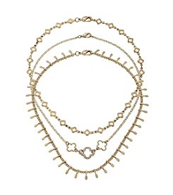 Canvas Goldtone Three Choker Necklace Combo