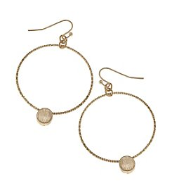 Canvas Diamond Cut Hoop Earring