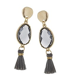Canvas Glass And Tassel Post Drop Earring