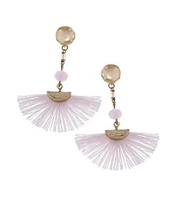 Canvas Bead Drop Fan Earrings