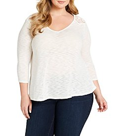Jessica Simpson Plus Size Murielle Lace-Up-Back Top