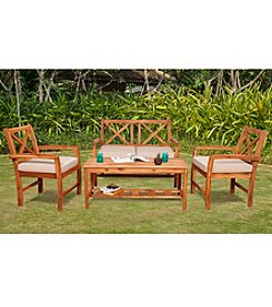 W. Designs 4-Piece X-Back Acacia Patio Conversation Set with Cushions
