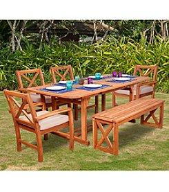 W. Designs 6-Piece X-Back Acacia Patio Dining Set with Cushions