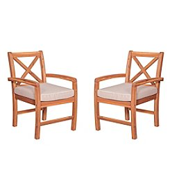 W. Designs Set of 2 X-Back Acacia Patio Chairs with Cushions