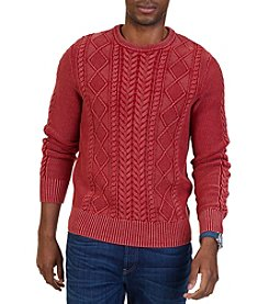 Nautica® Men's Washed Cable Crew Sweater