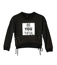 Amy Byer Girls' 7-16 Long Sleeve Be You Tiful Top